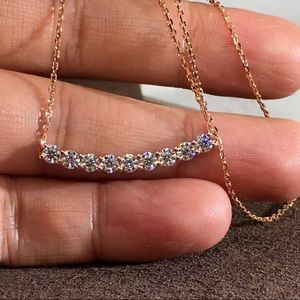 Stunning Rose Gold Bedazzled CZ Arc Necklace